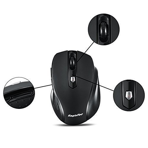 EagleTec MR5M2509 2.4GHz Wireless Optical Mouse, Switchable DPI 1000/1500/2000,5 Buttons, 2 Programming Keys with Nano USB Receiver (Black Color)
