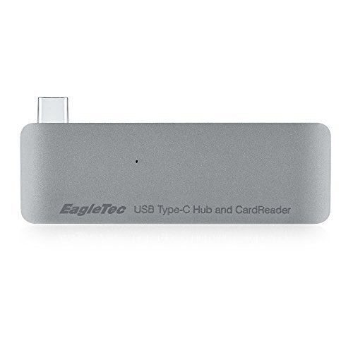 EagleTec B052 Aluminum USB Type-C USB 3.0 3 in 1 Combo Hub For MacBook 12-Inch (supports USB-C Pass-Through Charging) (Space Grey)
