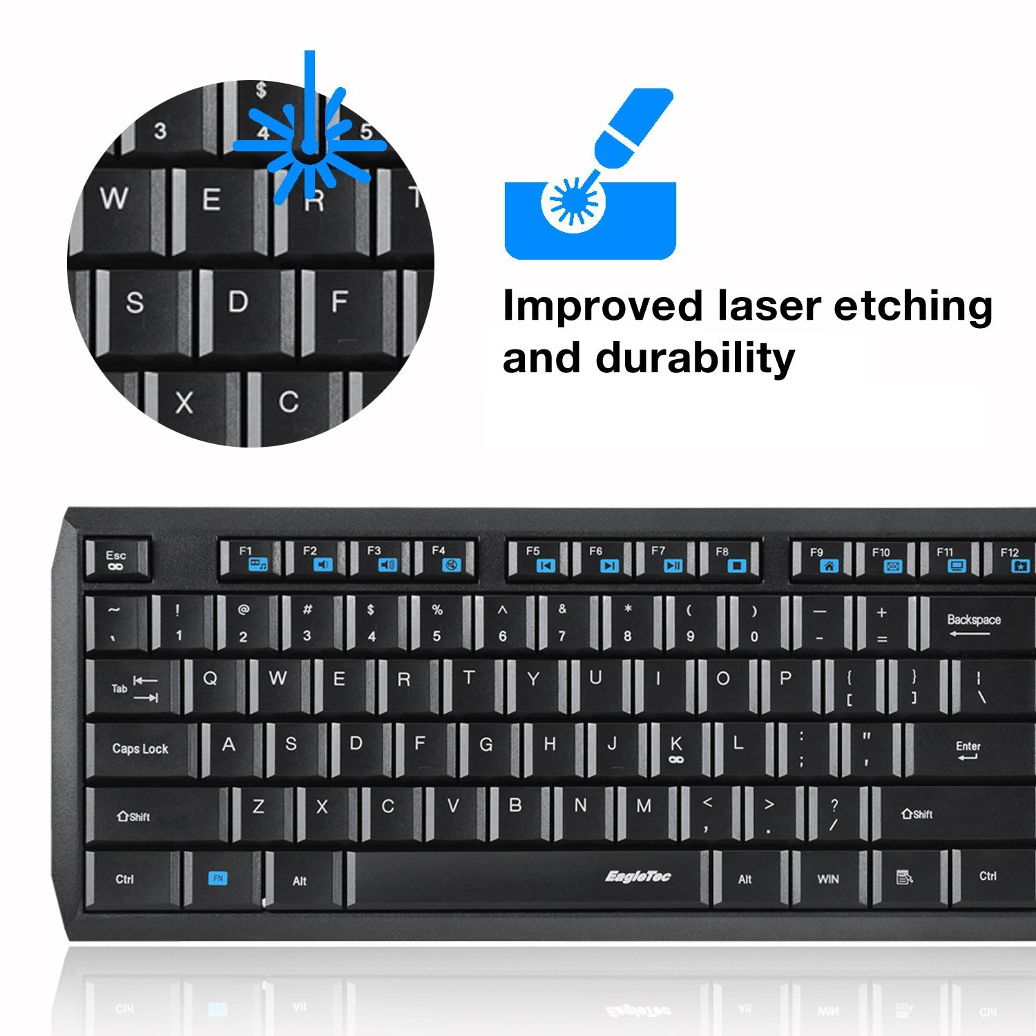 EagleTec K104-A Wireless Keyboard and Mouse Combo 2.4 GHz - 10 pcs. Bundle (Black)