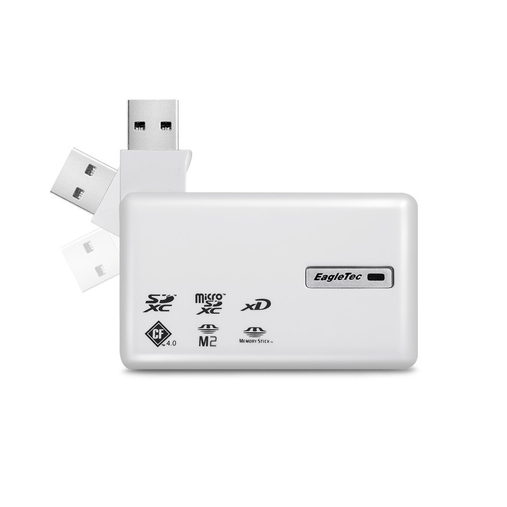 EagleTec MRES6CB3UW USB 3.0 Cubic 6 All In One Card Reader for SD/SDHC/SDXC/MS/CF Cards (White Color)