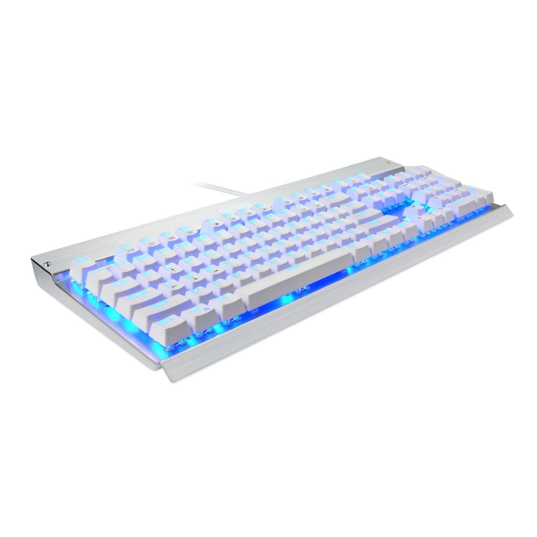 EagleTec KG011 Office / Industrial LED Backlit Mechanical Keyboard (White + Silver)