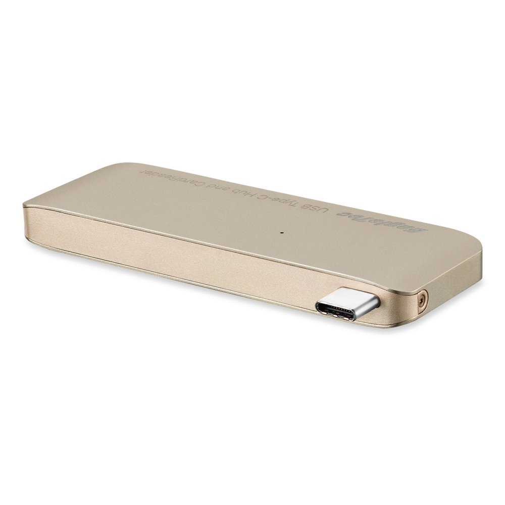 EagleTec B050 Aluminum USB Type-C USB 3.0 3 in 1 Combo Hub For MacBook 12-Inch (supports USB-C Pass-Through Charging) (Gold)
