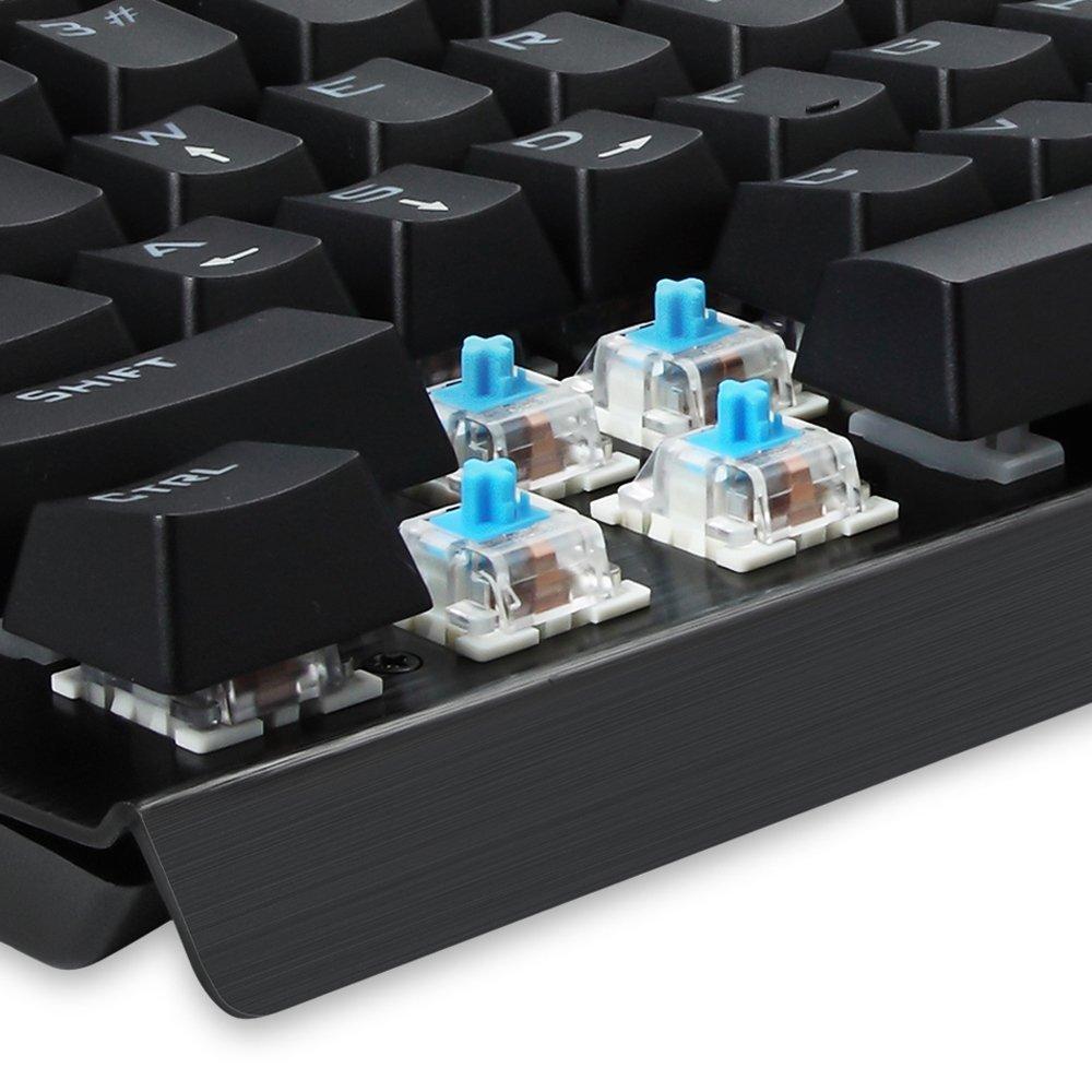 Gaming Keyboard Mechanical Illuminated Keyboard RGB LED Rainbow Backlit for PC Gamer 104 keys Industrial Aluminium backlighted Keyboard with blue switch KG010 by EagleTec( Black)