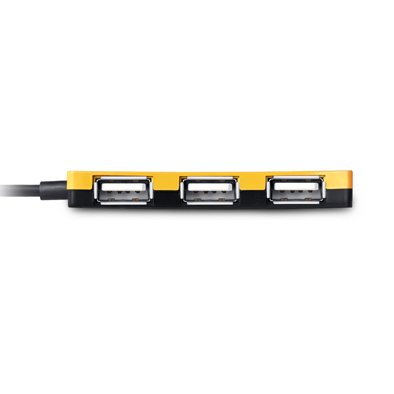 EagleTec HUB3639 USB 2.0, 4 Port Hub (Yellow Color, Ultra Slim Size 9mm)